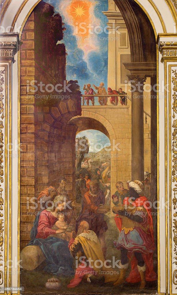 Cordoba - Adoration of Magi in Iglesia de San Agustin stock photo