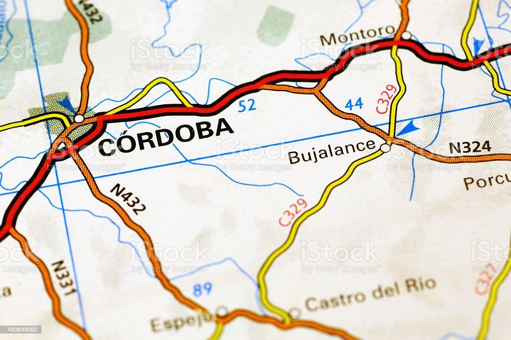 Cordoba area on a map stock photo