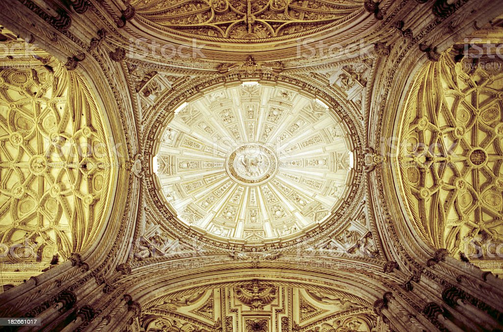 Cordoba cathedral ceiling royalty-free stock photo