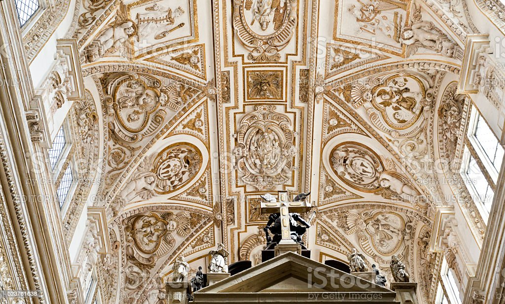 Cordoba Cathedral Transept Ceiling stock photo
