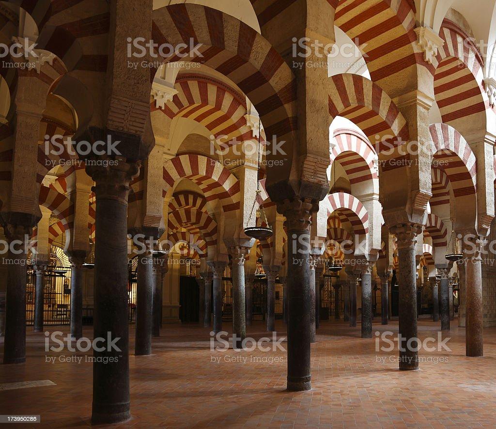 Cordoba Meqsquita mosque pillars royalty-free stock photo