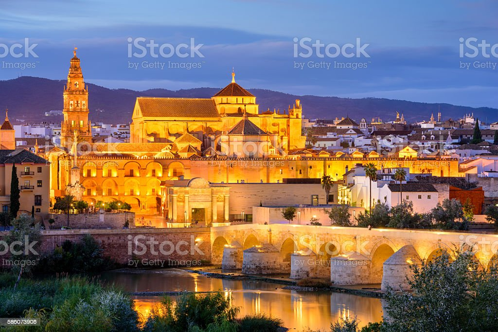Cordoba Mosque-Cathedral at Night stock photo