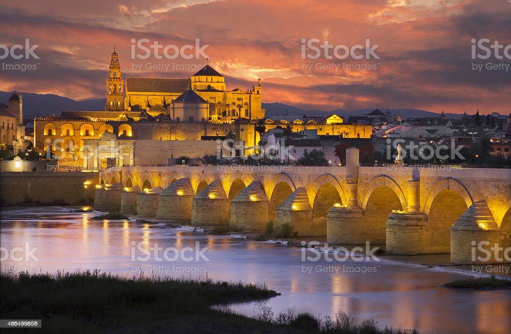 Cordoba - Roman bridge and the Cathedral stock photo