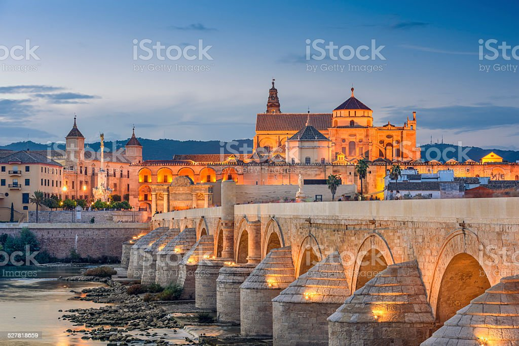 Cordoba, Spain at the Roman Bridge and Mosque-Cathedral stock photo