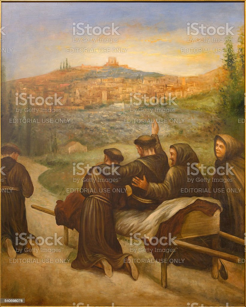 Cordoba -  St. Francis of Assisi benedicite the town Assisi. stock photo