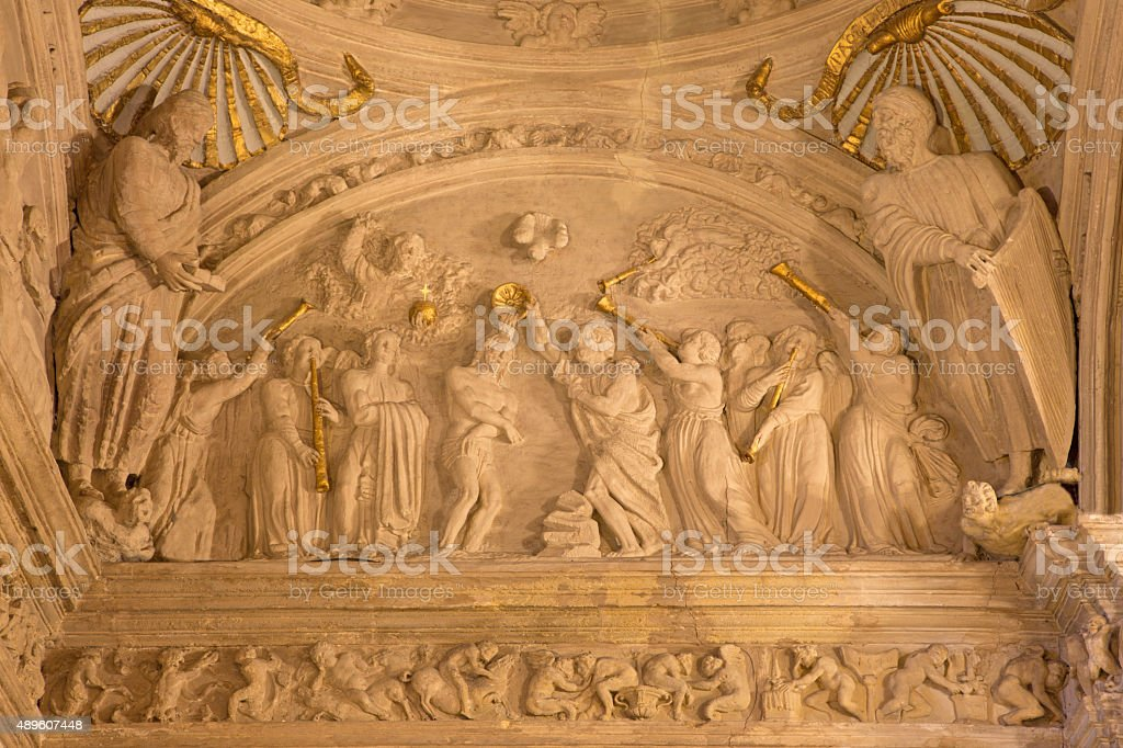 Cordoba - The baptism of Christ relief stock photo