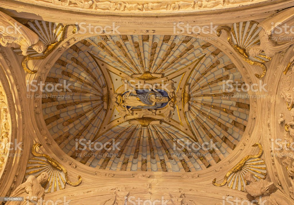 Cordoba - The ceiling of baptistery stock photo
