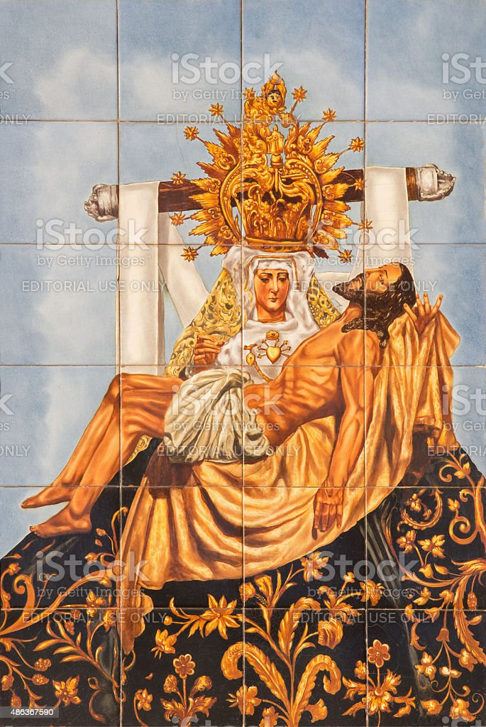 Cordoba - The ceramic tiled Pieta stock photo