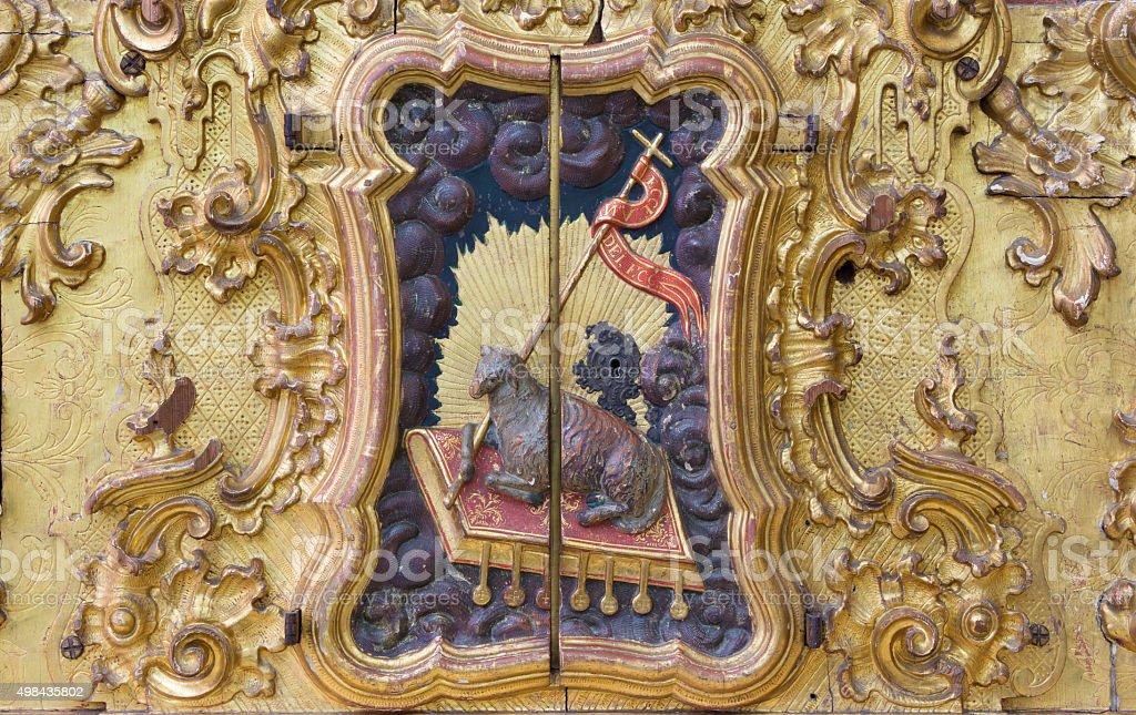 Cordoba - The Lamb of God baroque relief stock photo