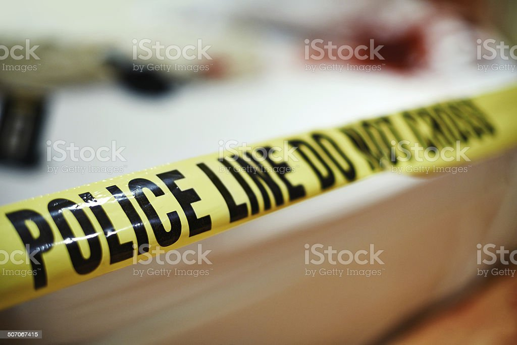 Cordoned off crime scene stock photo