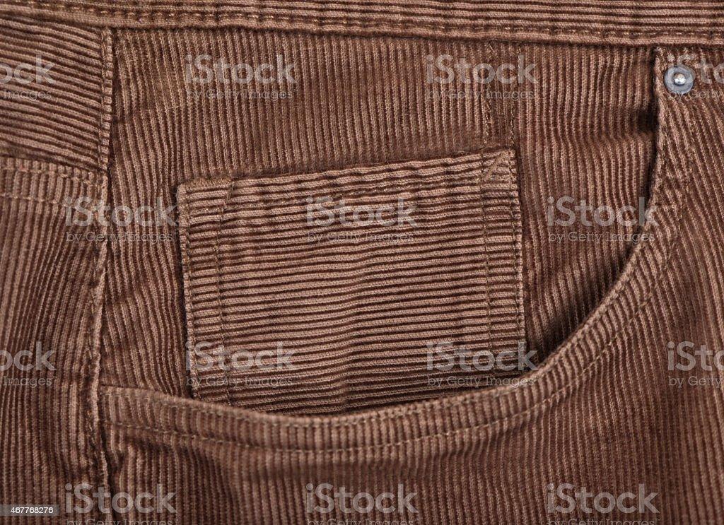 Corduroy pants - pocket detail stock photo