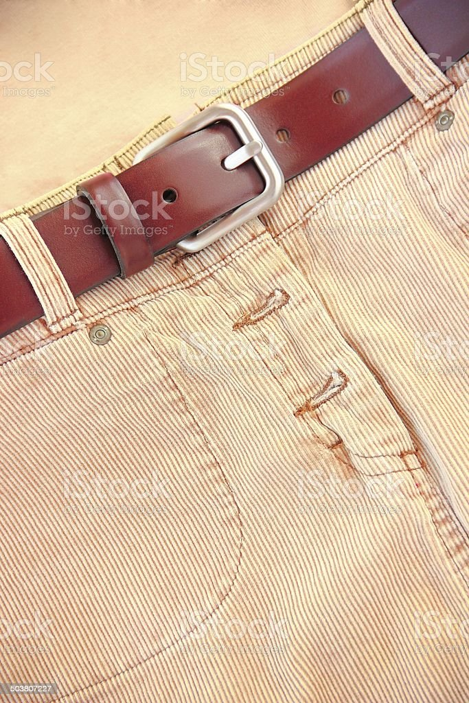 Corduroy Skirt With Leather Belt stock photo