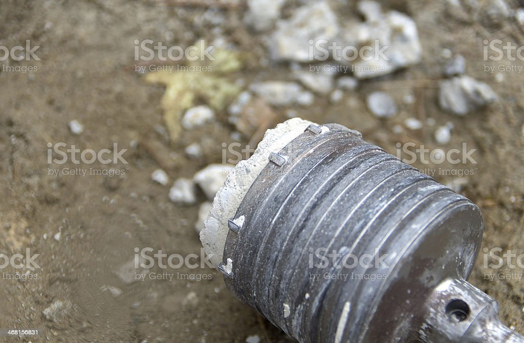 Core Drilling Bit with Concrete Slug royalty-free stock photo