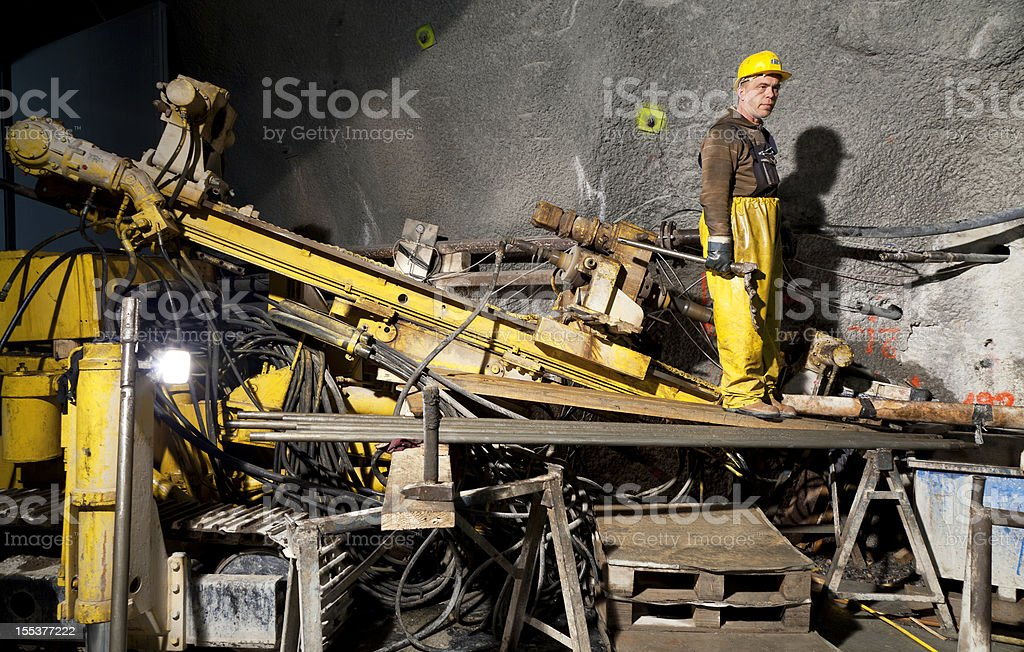 Core drilling rig with worker stock photo