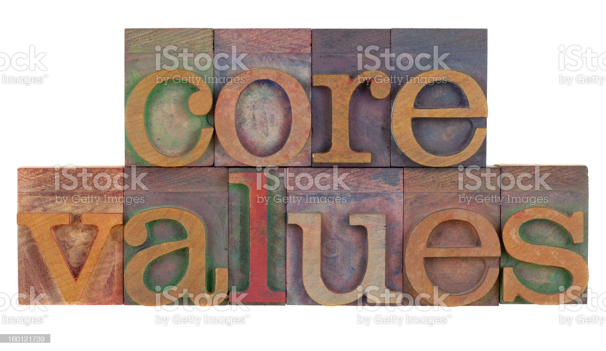 Core values in vintage wooden printing blocks royalty-free stock photo