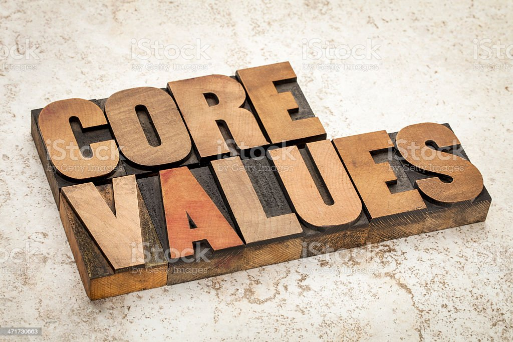 core values  in wood type royalty-free stock photo
