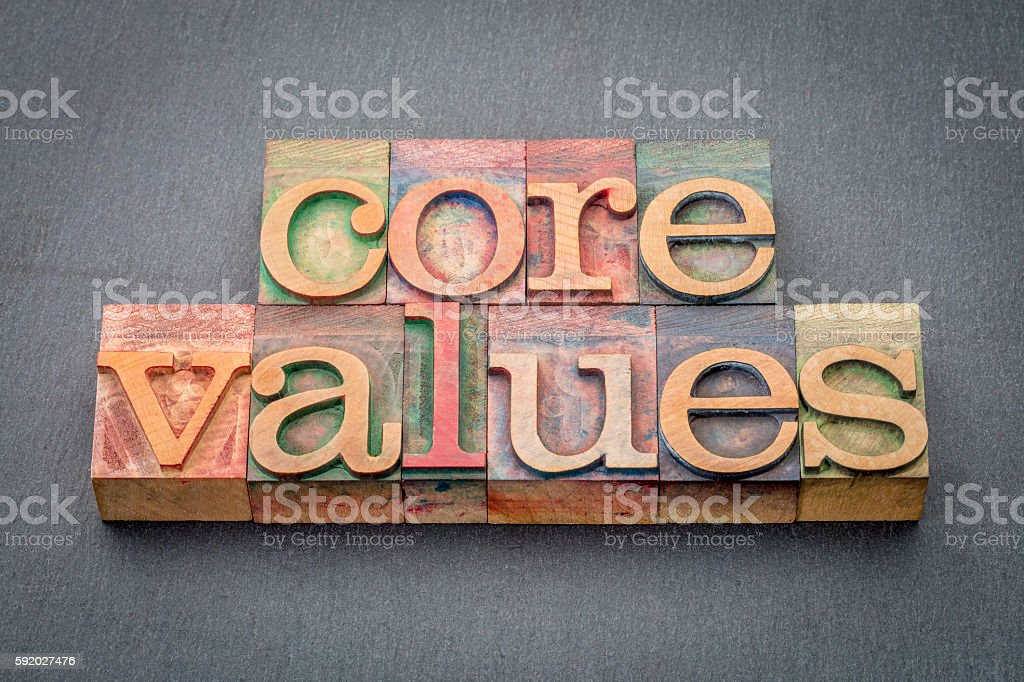 core values in wood type stock photo