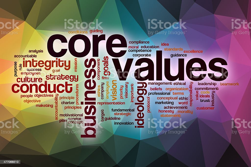 Core values word cloud with abstract background stock photo