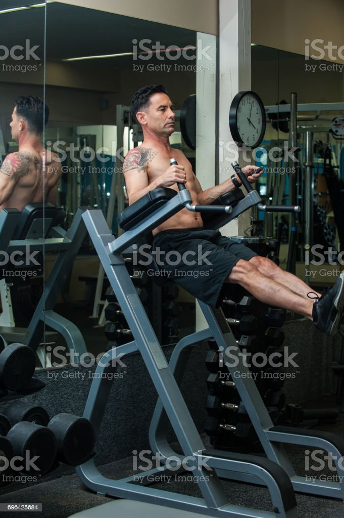 Core workout at the club stock photo