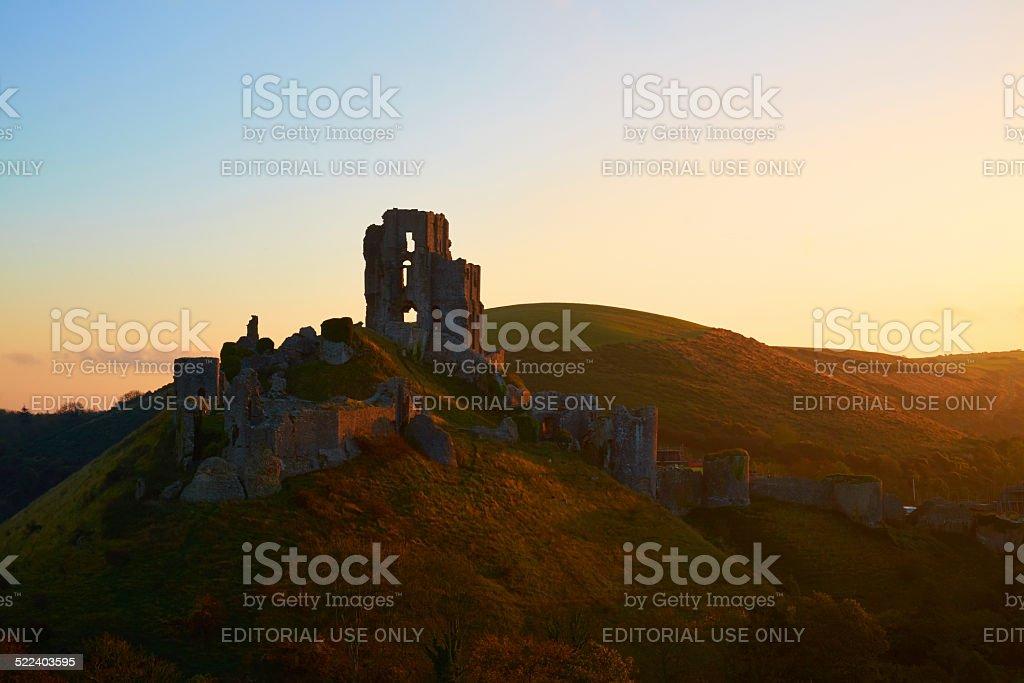 Corfe Castle At Dawn stock photo