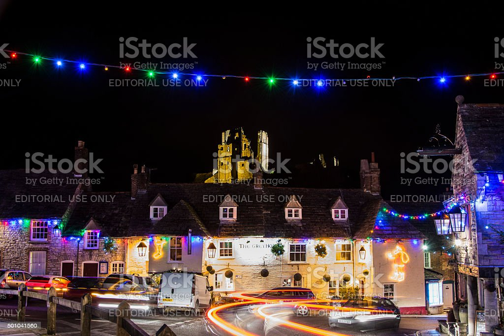 Corfe Castle at Night stock photo