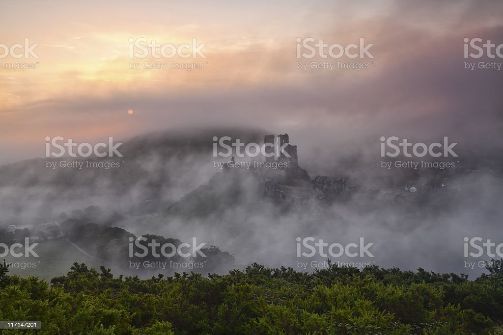 Corfe Castle Autumn mist stock photo