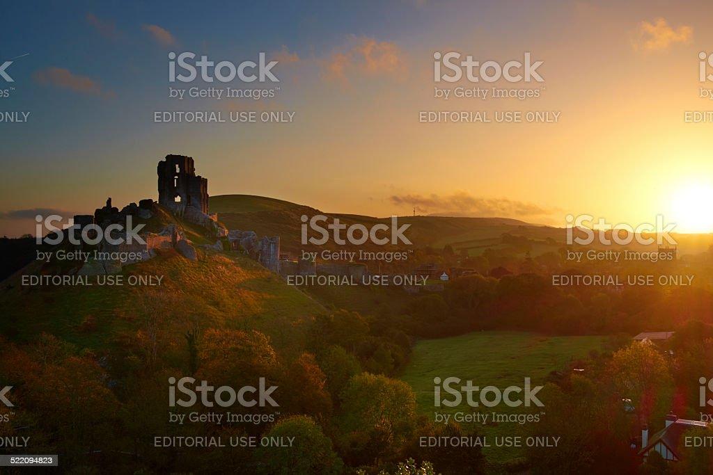 Corfe Castle In Dorset At Dawn stock photo