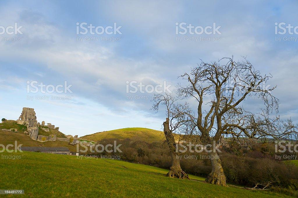 Corfe Castle stock photo