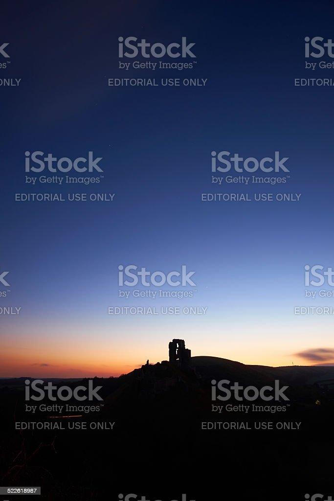 Corfe Castle Silhouette At Dawn stock photo