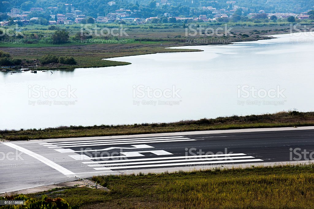 Corfu Airport stock photo