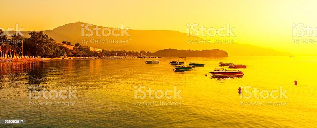 Corfu beach sunrize stock photo