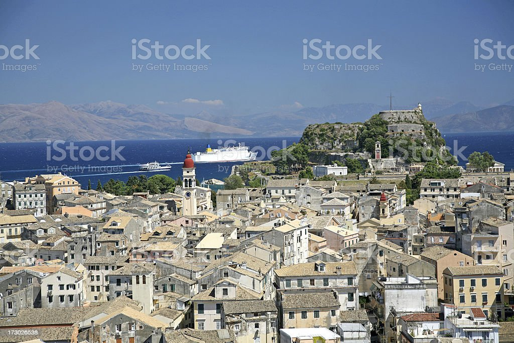 Corfu Town and Harbor royalty-free stock photo