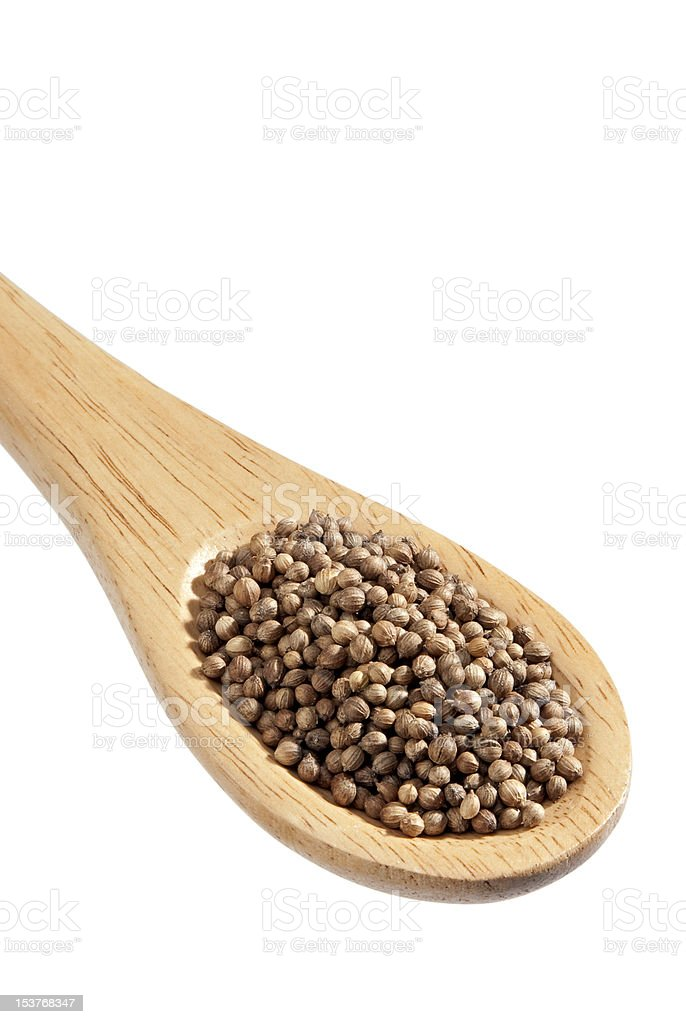 coriander on a spoon, isolated royalty-free stock photo