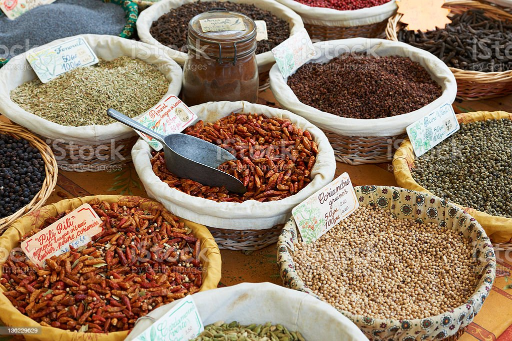 Coriander, pili-pili and other spices royalty-free stock photo
