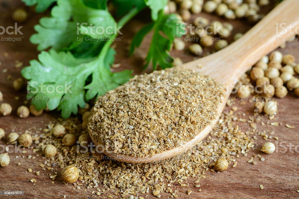 Coriander powder, Aromatic ingredients on rustic wooden table stock photo