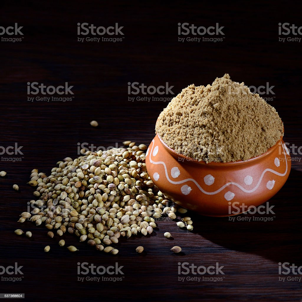 Coriander seeds and Powdered coriander stock photo