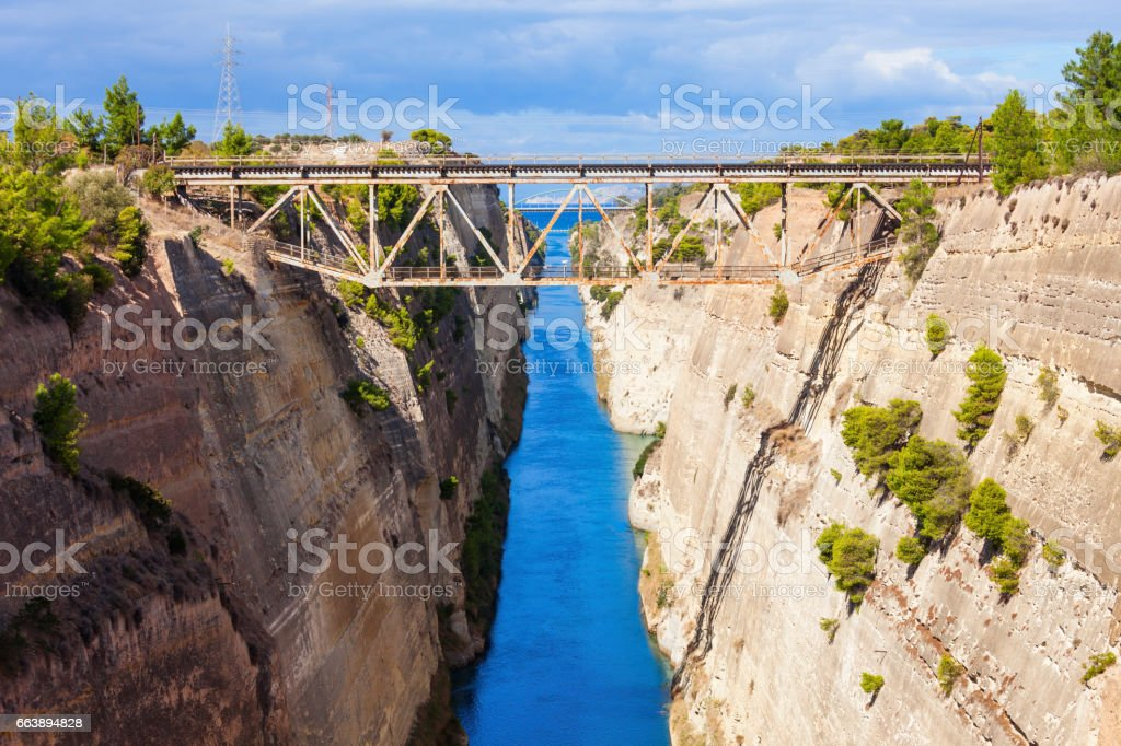 Corinth Canal in Greece stock photo