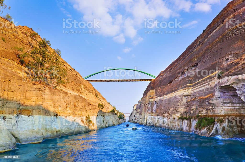 Corinth channel in Greece stock photo