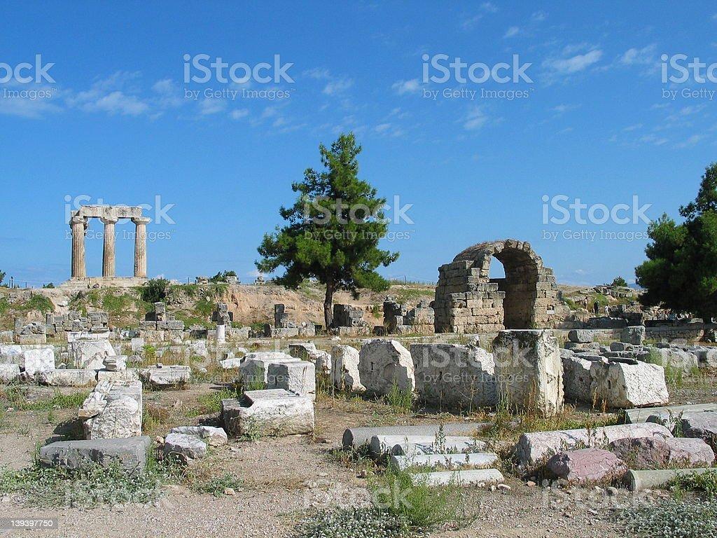 Corinth ruins stock photo