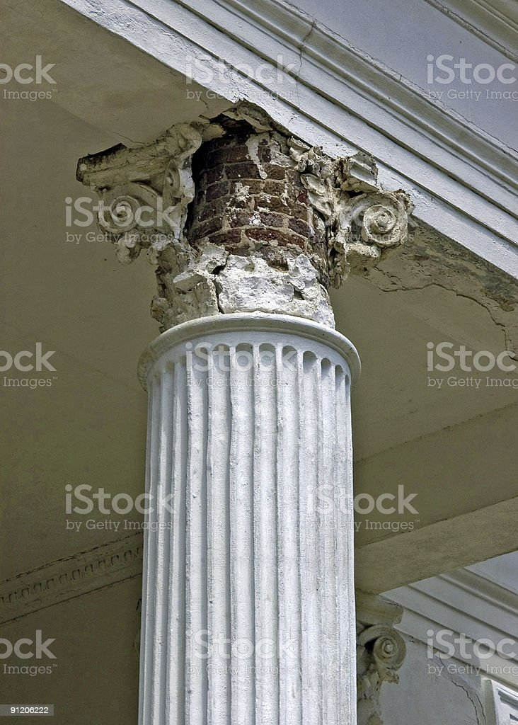 Corinthian Column in Disrepair royalty-free stock photo