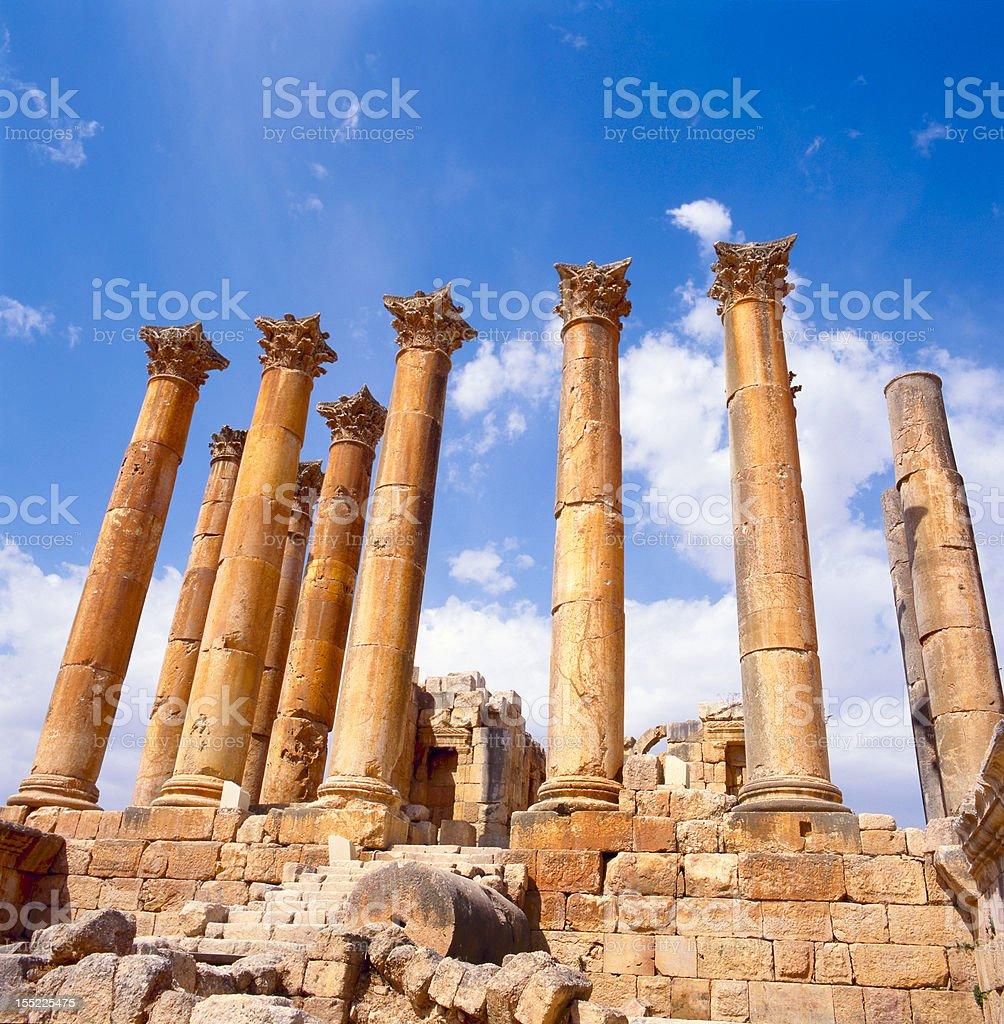 corinthian columns in Jerash stock photo