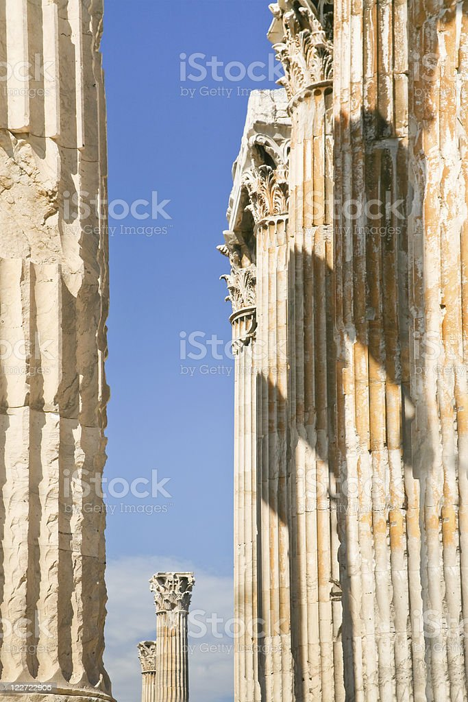Corinthian columns of Templef Zeus, Athens royalty-free stock photo