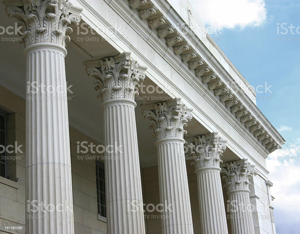 Corinthian Columns on sunny day stock photo