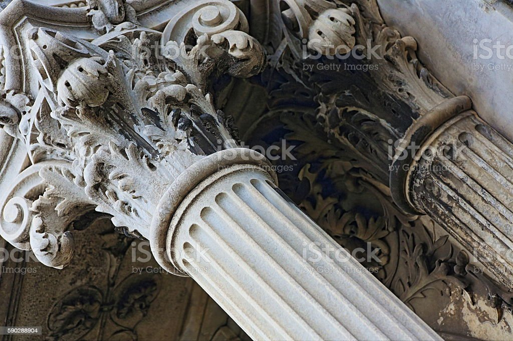 Corinthian greek architectural classical column facade building detail concept stock photo