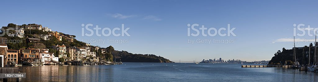 Corinthian Island and San Francisco Panoramic stock photo