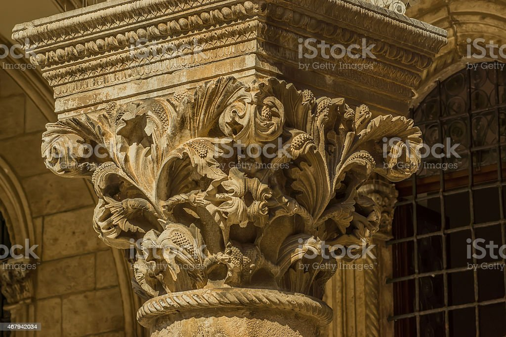 Corinthian order column stock photo