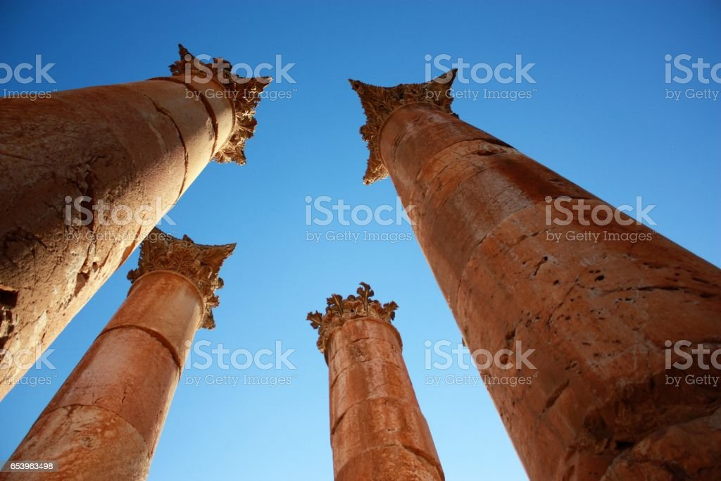 Corinthian ornamentation of columns in Artemis Temple, Jerash Jordan stock photo
