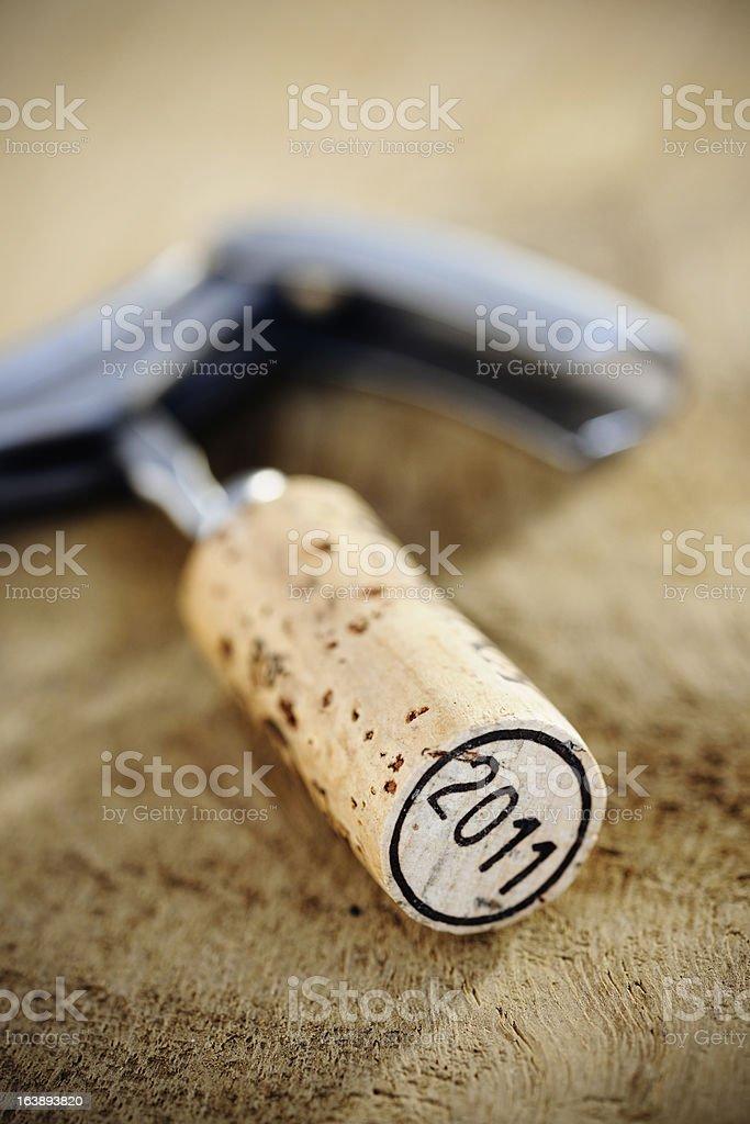 Cork '2011' on corkscrew stock photo