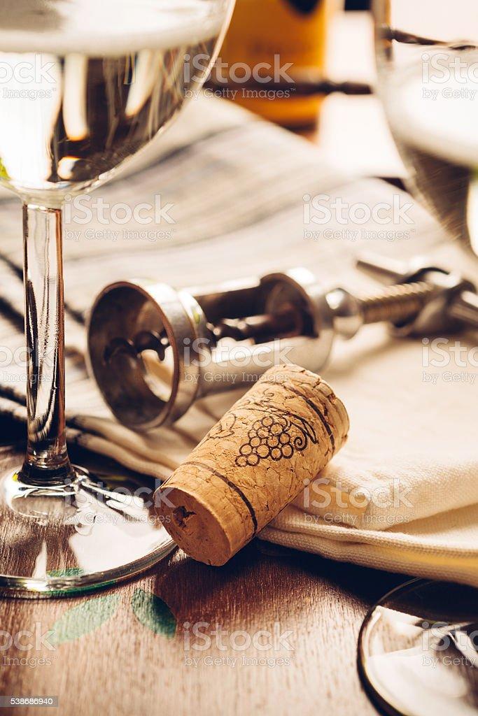 cork and bottle opener - wine stock photo