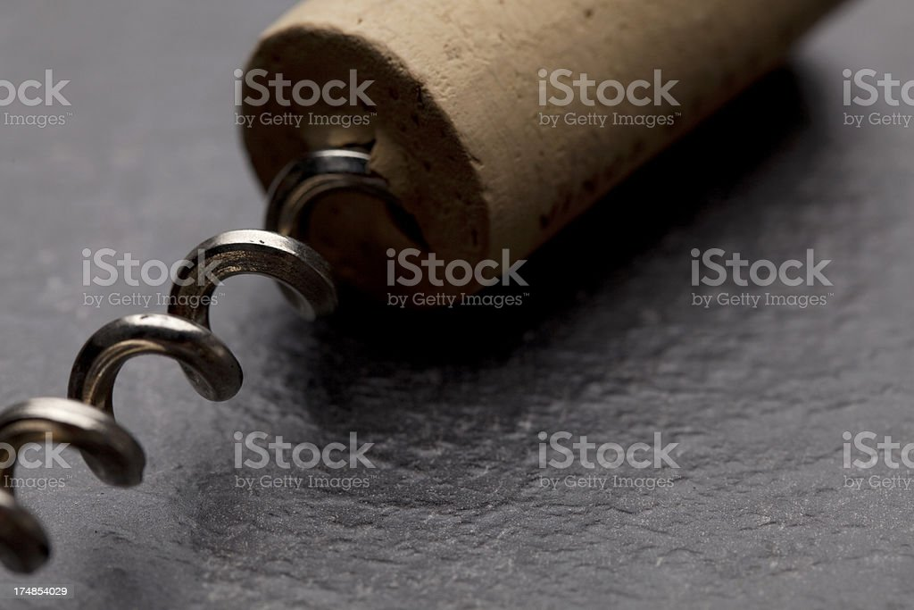 Cork and corkscrew royalty-free stock photo